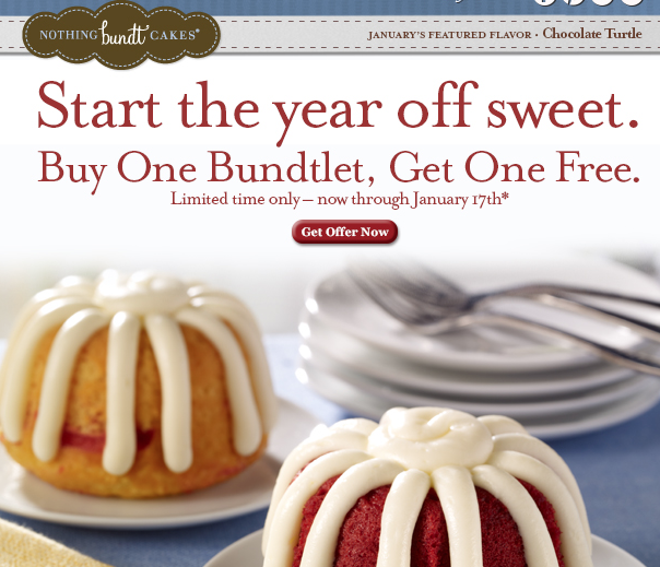 photo relating to Nothing Bundt Cakes Coupons Printable named Very little Bundt Cakes: Order 1 Bundtlet, Get hold of Just one Totally free! ($3.99
