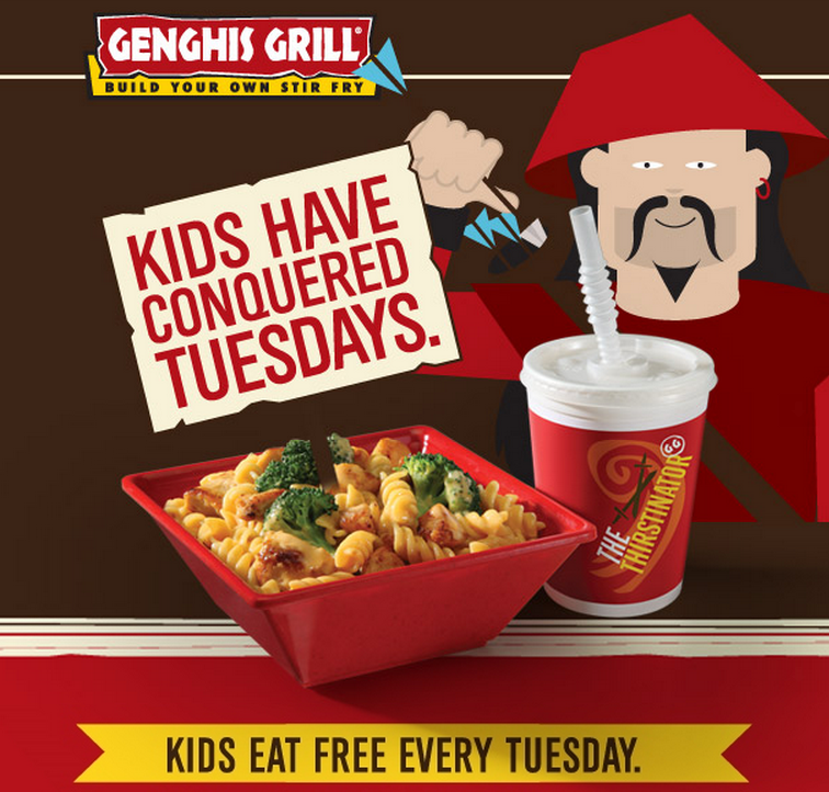 picture regarding Genghis Grill Printable Coupon named Small children Take in Totally free Tuesdays at Genghis Grill! - ModMomTV