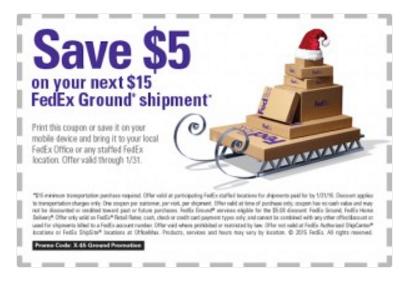 Fed Ex Save 5 Off Your 15 Ground Shipment Modmomtv