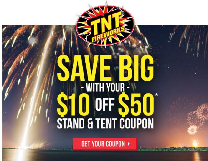 image relating to Tnt Fireworks Coupons Printable titled TNT Fireworks Coupon: $10 off $50 Acquire! - ModMomTV