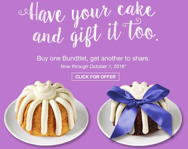 picture regarding Nothing Bundt Cakes Coupons Printable named Nothing at all Bundt Cakes Coupon - BOGO Totally free Bundtlet!