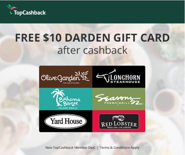 Topcashback Free 10 Olive Garden Gift Card And Free 10