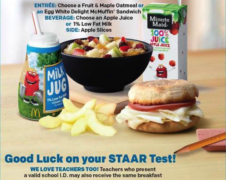 McDonald's free breakfast for STAAR testing